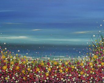 Flower meadow painting, blue sky, seascape, acrylic painting, abstract art, wall art, large painting, original painting, colour and sparkle