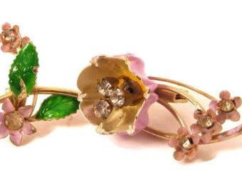 Vintage Green & Purple Enamel Clear Rhinestone Gold Tone Flower Brooch Pin *X102
