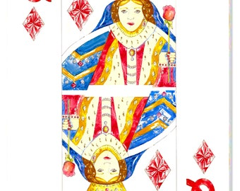 Queen of Diamonds Watercolor Rendering printed on Canvas