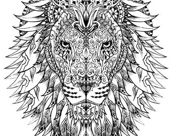lion instant download adult coloring pages digital printable design coloring page printable