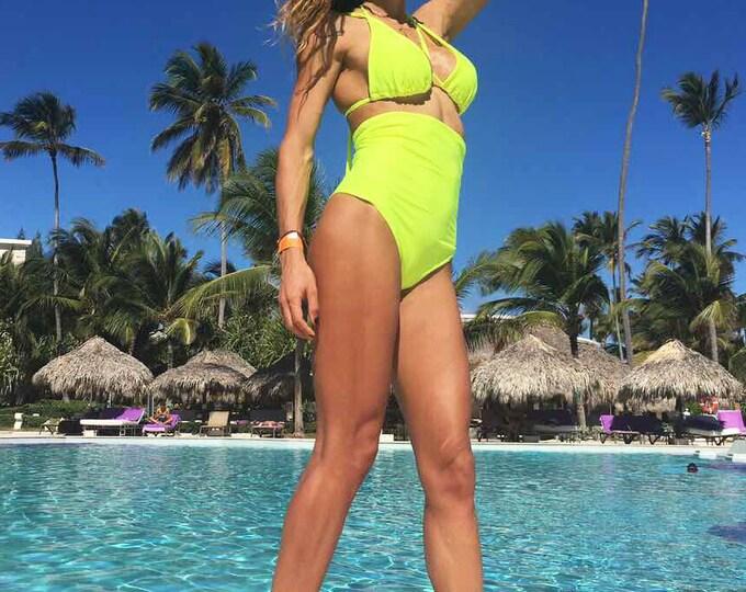 High Waisted Woman Swimsuit, Yellow Bathing Suit, Two Piece Bikini Bra, Beachwear By SSDfashion