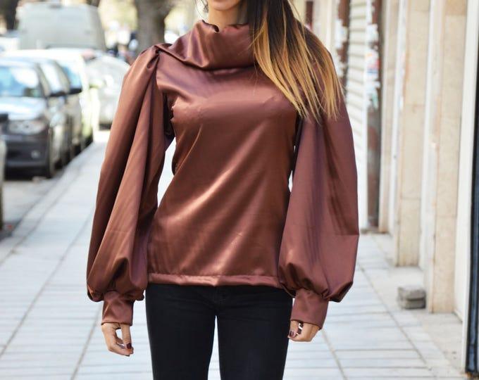 Women's Extravagant Zipper Shirt, Elegant Puffed Sleeves Shirt, Satin Fit Turtleneck Shirt, Loose Shirt By SSDfashion