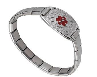 "Lovely Filigree Medical Alert ID Tag Italian Charm Bracelet for Women -7.5""-TP Red - Free Engraving, Wallet Card, Apps-6800TRRE"
