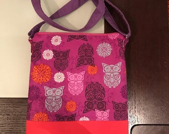 Owls in Lilac Crossbody Bag, Purse, Ipad Carrier