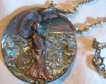 Beautiful Abalone Pendant Necklace with Oriental Woman
