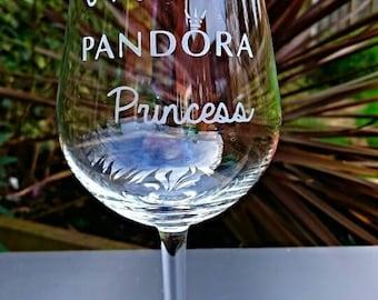 I'm a Pandora Princess Engraved Wine Glass - New