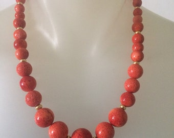 Natural Coral Necklace. Graduated Sponge Coral necklace with Gold accents.