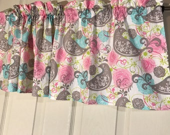 Pastels pink blue gray paisley  flower curtain Valance