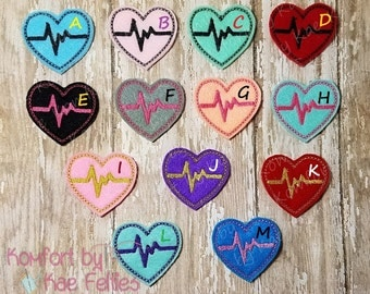 EKG Heart Felties- (set of 4) UN-CUT