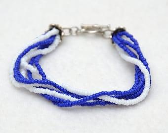 Dark blue bracelet Beaded Wrap bracelet bohemian Beaded bracelet Royal blue bracelet Deep blue Beaded jewelry bracelet Stacking bracelet