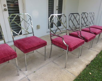 Set Of Six Milo Baughman Chrome Chinese Chippendale Dining Room Chairs Upholstered In A Lush Salamandre Velvet, Two Arm And Four Side.