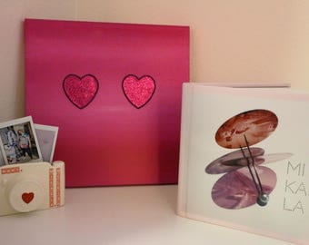 Hot Pink Hearts Patches on Canvas