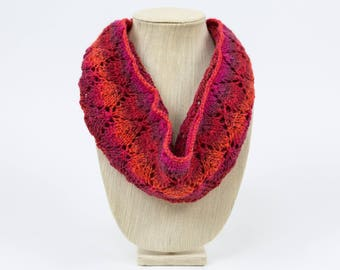 Shades of Red Lace Hand Knit Cowl/Infinity Scarf - Falling Leaves Design