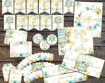 Boy Baby shower decorations Printable Baby Shower Party Pack Mint gold Printable Baby Shower Party Package baby boy its a boy hot air ballon