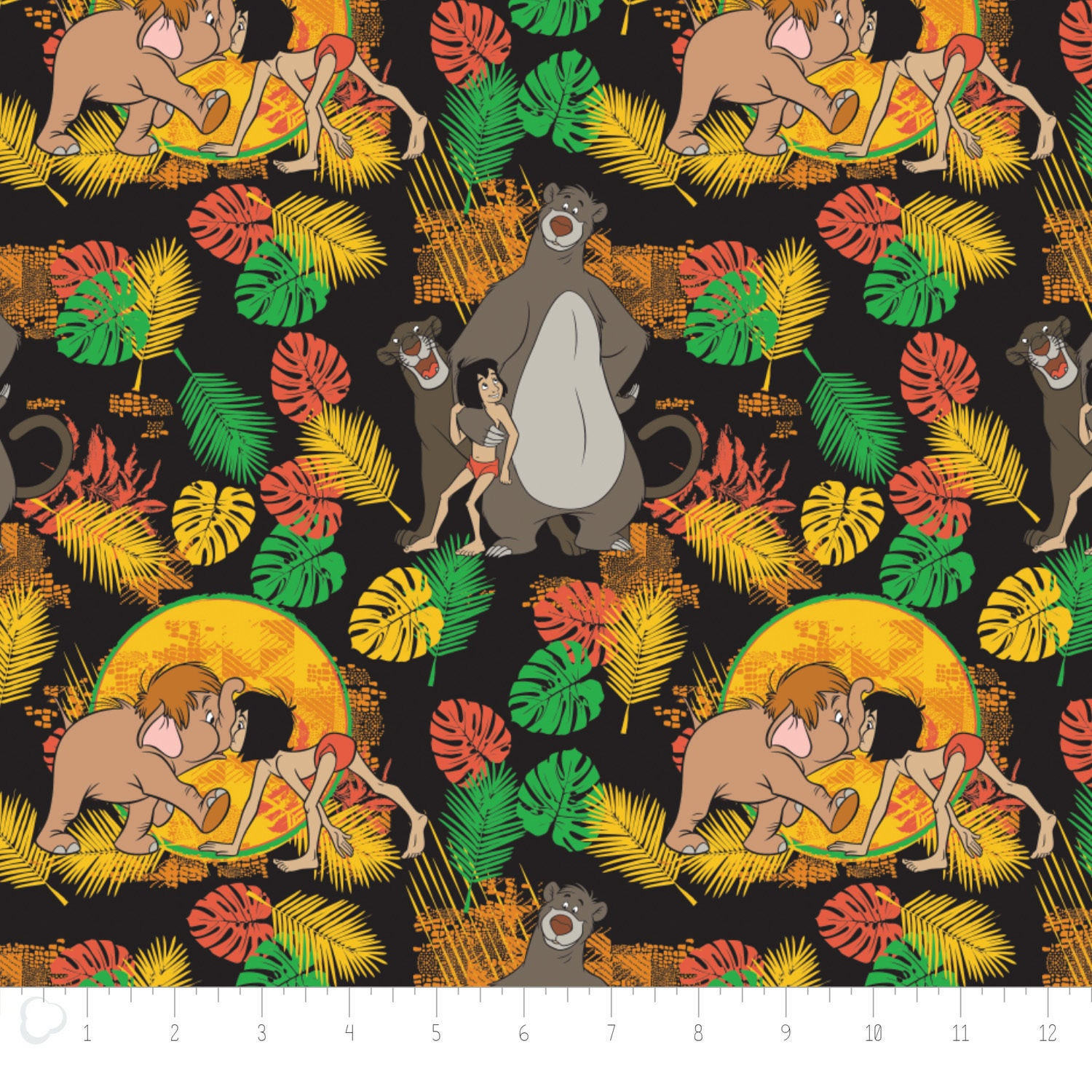 Camelot the jungle book friends black premium 100 cotton for Childrens jungle fabric