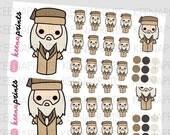 25% OFF A435   LITTLE Wizard Chibi Repositionable Stickers Perfect for Erin Condren Life Planner, Filofax, Plum Paper