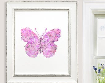 Watercolor butterfly painting butterfly print pink wall art, girls wall decor, pink girl nursery decor - N98
