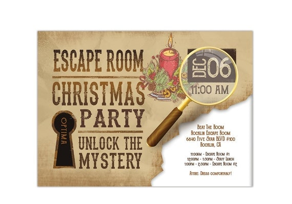 Holiday Escape Room Invite Printable Digital Pdf And Jpeg