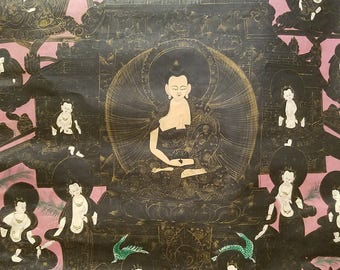 Antique Tibetan Nagtang Thanka depicting Buddha, 1970 or earlier - Strange Imports