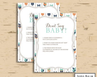 Tribal Baby Shower Games - Don't Say Baby - Boho Arrows and Feathers Boy DIY INSTANT DOWNLOAD Pdf TR003