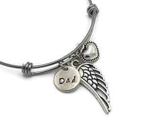 Loss of Father, Memorial Bangle Bracelet, Sympathy Gift, Angel Wing Memorial Bracelet, Memorial Gift Idea, Memorial Jewelry, Loss of Dad