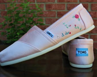 Wedding shoes, Bridal TOMS, Wedding TOMS, Custom bridal shoes, custom TOMS, Toms shoes, Bride Shoes, Bridal Shoes, hand embroidered shoes