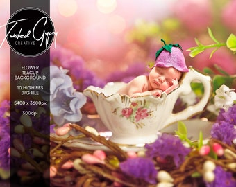 Floral Teacup Background - Digital backdrop for babies and children