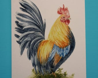 Golden Phoenix Rooster Greeting Card