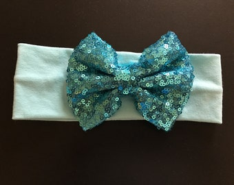 Turquoise sequin bow with headband