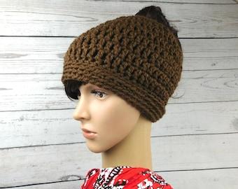 Bun hat, messy bun hat, messy bun beanie, ponytail beanie hat, crochet beanie hat, brown bun beanie hat, gift for her