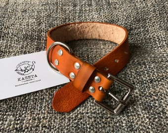Leather dog collar 'Tan'