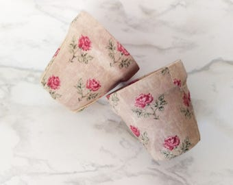 Pink Rose Cloth Planters - Set of 2 Mini-Pots - Cloth Terra Cotta - Fabric Herb Garden Pot - Pink Roses and Burlap Style - Clay Herb Pot