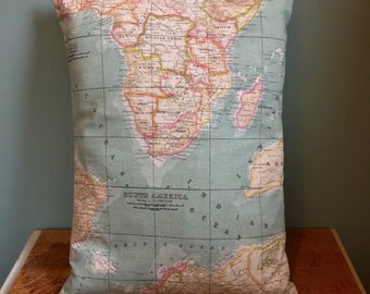 Map print & ticking stripe fabric cushion