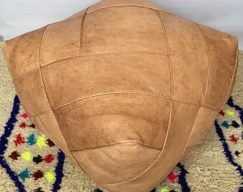 LARGE Moroccan Contemporary, Luxurious design,  100% Leather, Hand Stitched Square  Pouffe Sand/UNSTUFFED