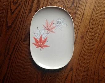 "TEXAS WARE Melamine Melmac Platter Fall Leaf Pattern 144/Vintage Melmac 11 3/4"" Platter/Melmac leaf pattern"
