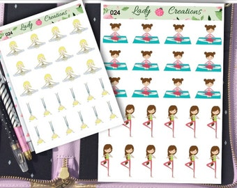 024   YOGA PILATES GYM Meditation - Planner Stickers