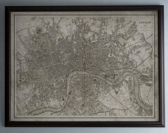 London Map: Vintage Map of London, England - Circa 19th C. - Weathered Map