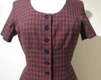 True Vintage Burgundy Navy 80s Tartan Check Winter Tea Midi Dress size UK 8 10 Small