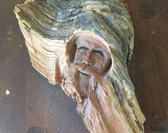 Handmade 3D carving out of a tree bark, unique figurine hand carved small wall decor