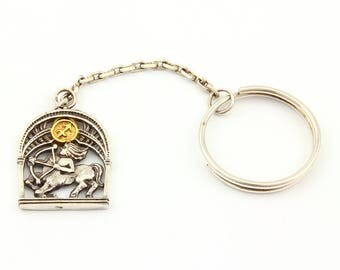 "Silver Key chain with Zodiac Horoscope Astrology Sign ""Sagittarius"""