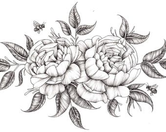 Roses Ink Drawing - A4 and A5 Prints
