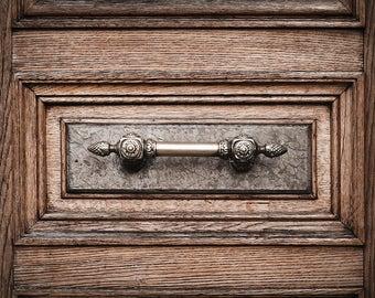 Paris photography, door wall art, rustic door handle, brown door, french home decor, paris decor, paris door print, office home decor