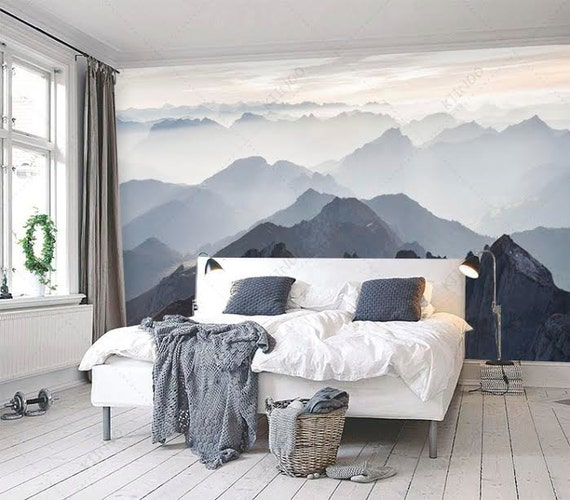 Kinderzimmer Wand Streichen : Mystical mountains mural misty mountain shadow hazy