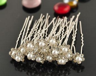 Crystal Pearl Hair Pins (5 pieces) Bridesmaid Hair Pins Hair Jewelry Hair Accessories