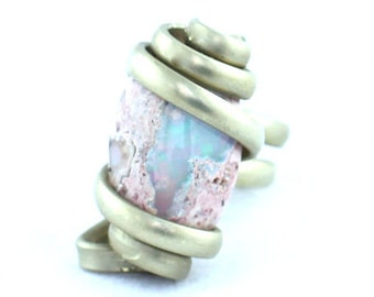 White Boulder Opal Silver Wire Wrapped Ring