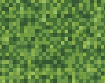Pixelated Squares Fabric - Green - sold by the 1/2 yard