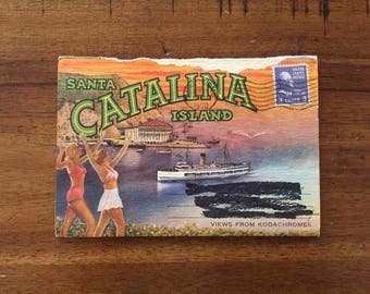 1940s Santa Catalina Island Postcard Book/ 6 Double-Sided Photos/ Used and Stamped