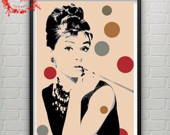 Pop Art Portrait Of Audrey Hepburn's