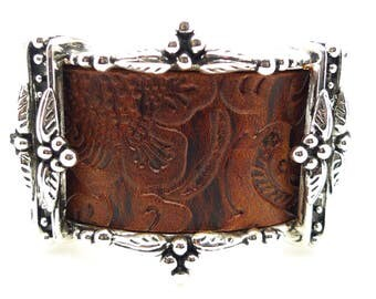 Christian Dior Vintage Brown Leather and Silver Tone Statement Cuff