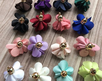 Bulk 20PCS. Chiffon Flower Fabric Petal Tassel With Gold Caps for Necklace, Earnings, Key Chan